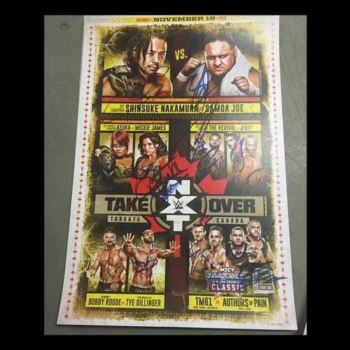 Photo of SIGNED NXT TakeOver: Toronto match card - #1 of 100 (Signed by multiple Superstars)