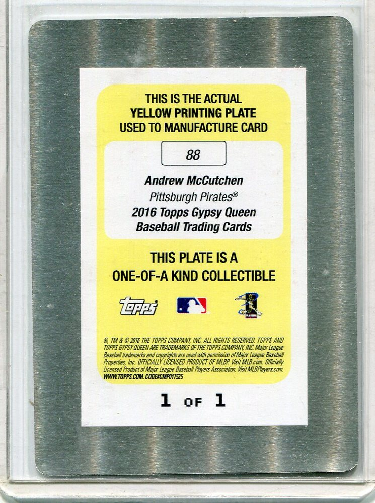 2016 Topps Gypsy Queen Printing Plates Yellow #88 Andrew McCutchen 1/1