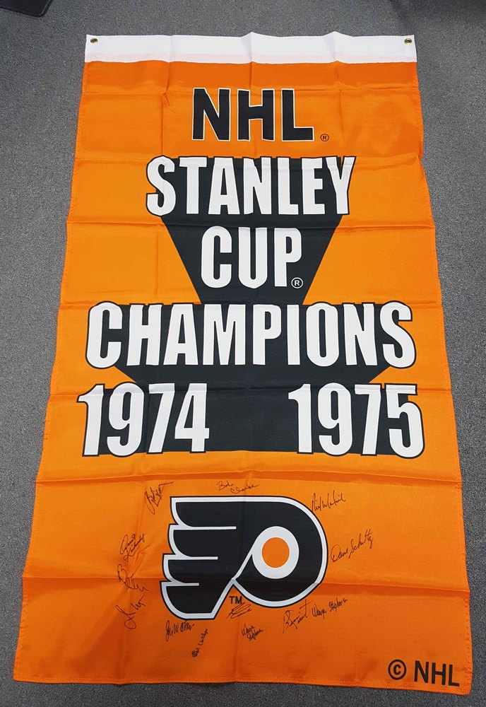1974-75 Philadelphia Flyers Team Signed Stanley Cup Banner: 11 Autographs *Clarke, Parent, Barber, etc*