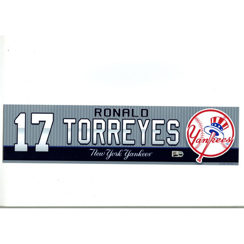 Ronald Torreyes New York Yankees 2016 Game-Used #17  Locker Room Nameplate (4/5/2016)