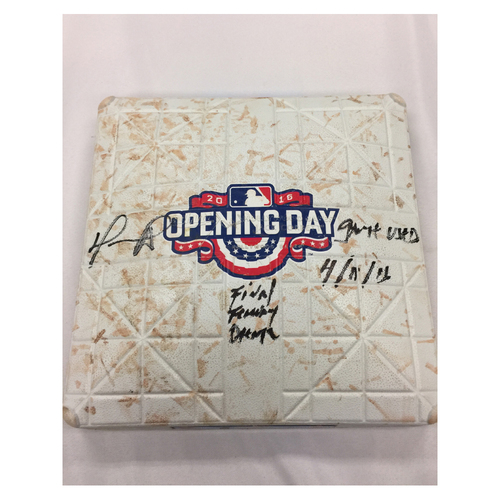 Photo of David Ortiz Autographed, Game-Used April 11, 2016 Opening Day 1st Base