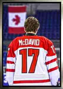 Connor McDavid - Framed 20x29 Canvas - Team Canada Jersey Back