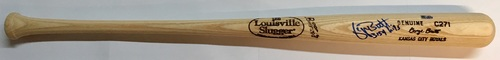 "Photo of George Brett ""3154 Hits"" Autographed Game Model Louisville Slugger Bat"