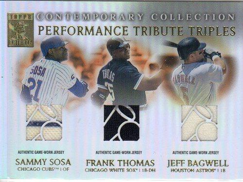 Photo of 2003 Topps Tribute Contemporary Performance Triple Relics #STB Sammy Sosa Jsy/Frank Thomas Jsy/Jeff