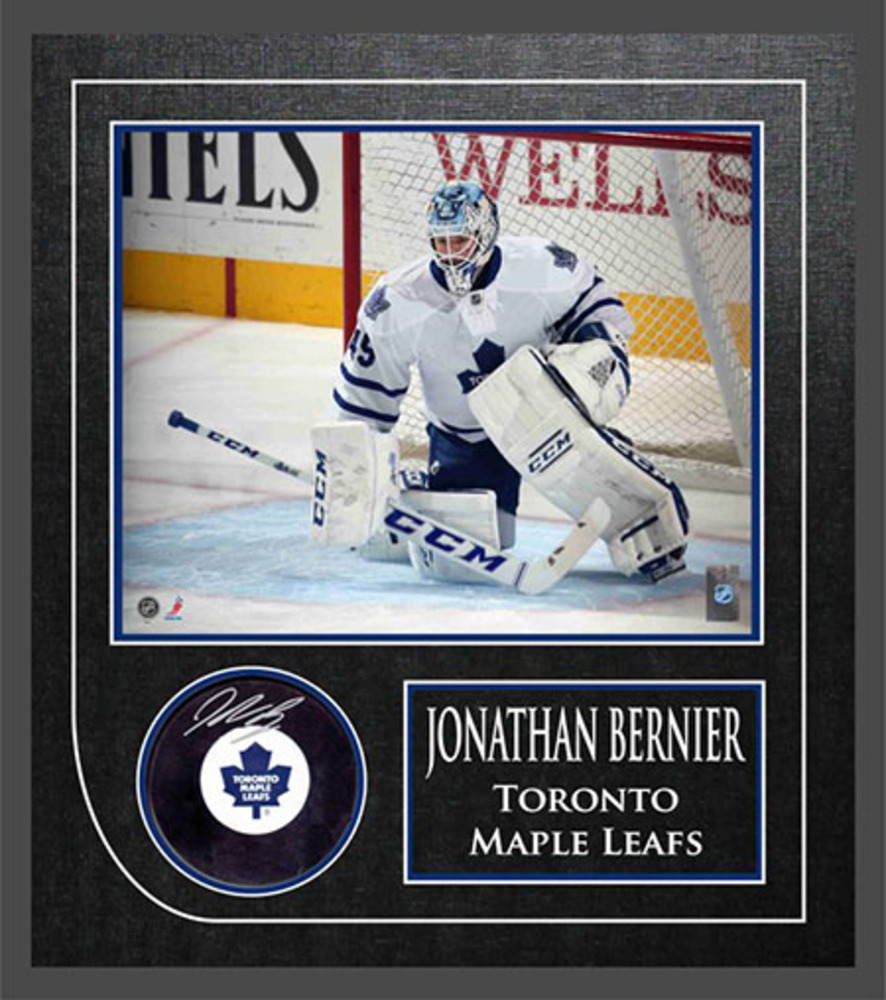 Jonathan Bernier - Signed & Framed Puck - Toronto Maple Leafs Featuring 8x10 Action Photo