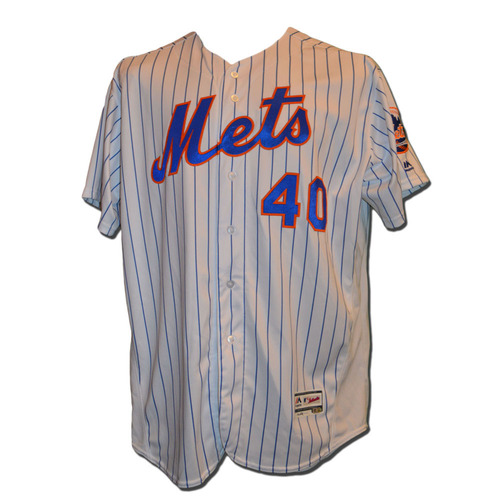 Photo of Bartolo Colon #40 - Game Used Home White Pinstripe Jersey - Mets vs. Phillies - 9/23/16