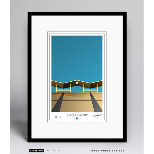 Minimalist Dodger Stadium Collectors Edition Framed Print (Limited Edition #126/350)