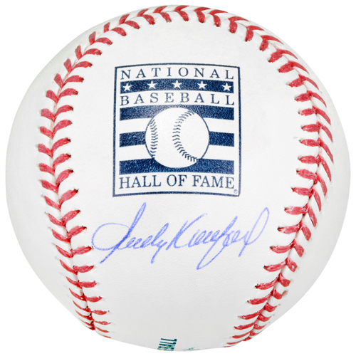 Photo of Sandy Koufax Los Angeles Dodgers Autographed Hall of Fame Logo Baseball