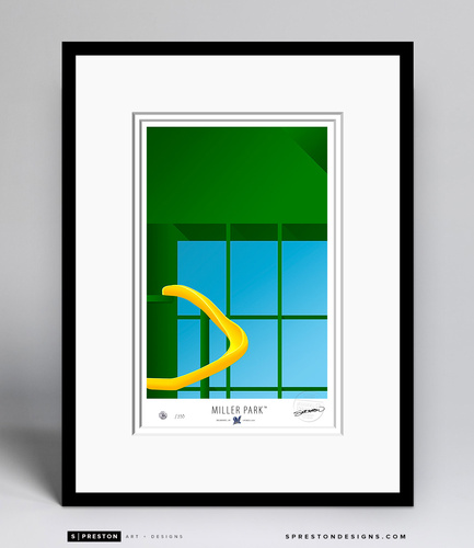 Minimalist Miller Park Collectors Edition Framed Print (Limited Edition #172/350)
