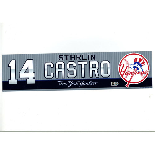 Starlin Castro New York Yankees 2016 Game-Used #14 Locker Room Nameplate (8/7/2016)