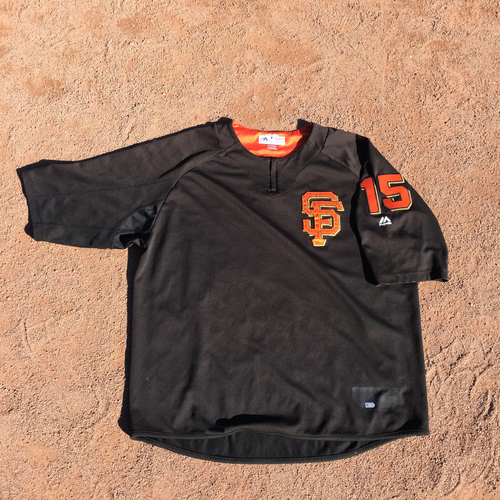 Photo of San Francisco Giants - 2017 Game-Used Batting Practice Jersey Worn by #15 Bruce Bochy (Size: 2XL)