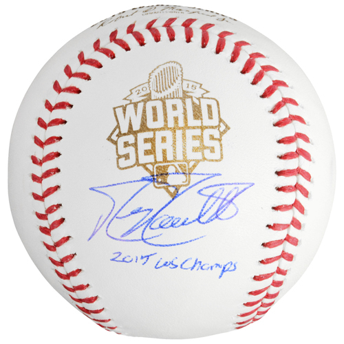 Photo of Mike Moustakas Kansas City Royals 2015 MLB World Series Champions Autographed World Series Baseball with 15 WS Champs Inscription