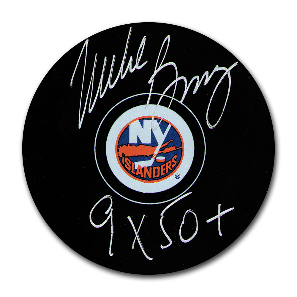 Mike Bossy Autographed New York Islanders Puck w/9X 50+ Inscription