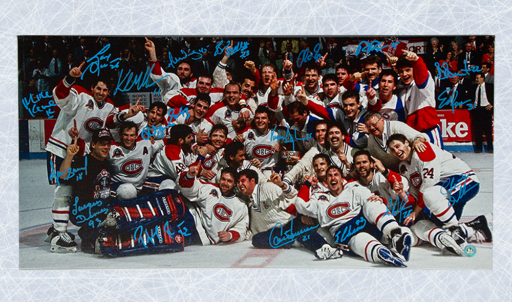1993 Montreal Canadiens Team Signed Stanley Cup 14x28 Art Canvas: 17 Autographs *Roy, Damphousse, Carbonneau, etc*