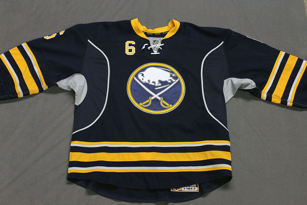 Mike Weber Game Worn Buffalo Sabres Home Jersey.  Serial: 1164-2. Set 2 - Size 56.  2013-14 season.