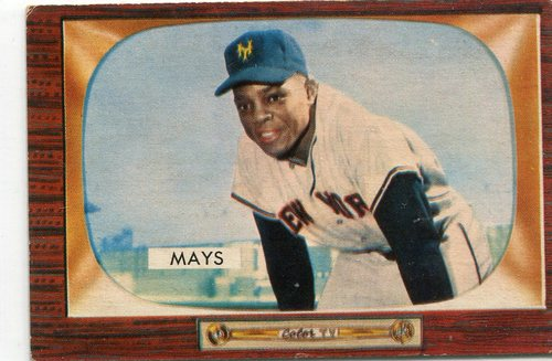 Photo of 1955 Bowman #184 Willie Mays -- Hall of Famer
