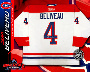 JEAN BELIVEAU Signed White Montreal Canadiens CCM Jersey
