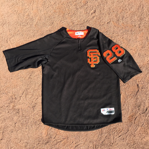 Photo of San Francisco Giants - 2017 Game-Used Batting Practice Jersey Worn by #28 Buster Posey (Size: L)