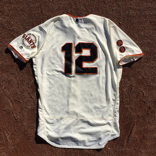 Photo of San Francisco Giants - 2016 Game-Used Home Jersey - Worn by #12 Joe Panik on 10/1 (Size 48)