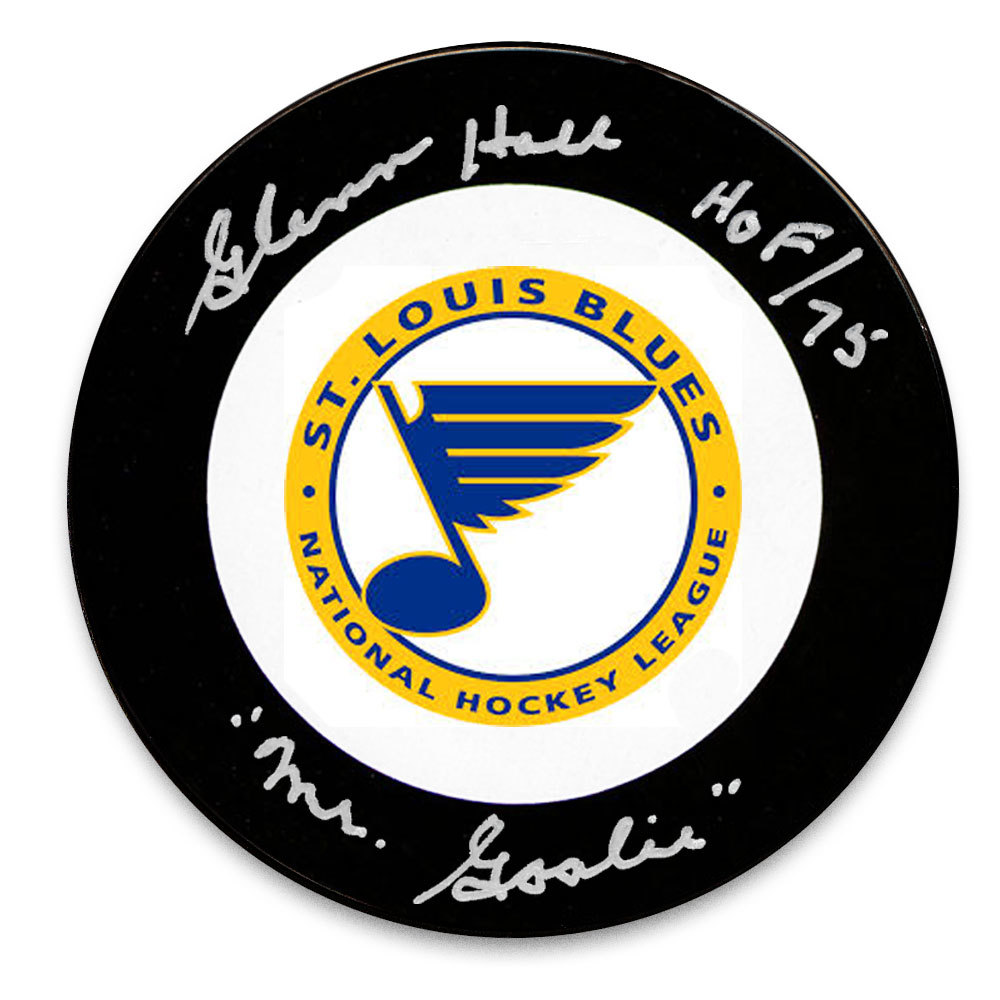 Glenn Hall St. Louis Blues HOF Mr. Goalie Autographed Puck