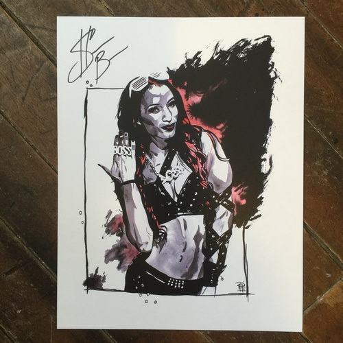 "Photo of Sasha Banks SIGNED 11"" x 14"" Rob Schamberger Print"