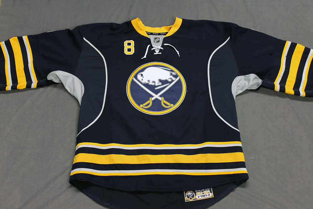 Cody McCormick Game Worn Buffalo Sabres Home Jersey.  Serial: 1161-2. Set 2 - Size 58.  2013-14 season.