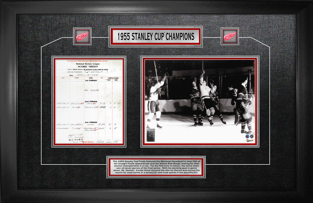 Gordie Howe - Framed Scoresheet Collage Detroit Red Wings 1955 Stanley Cup