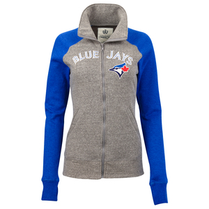 Toronto Blue Jays Women's Colourblock Full Zip Hoody Grey/Navy by Campus Crew