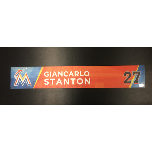 Photo of Giancarlo Stanton Team-Issued Locker Tag (Ties Gary Sheffield's Single Season HR Record)