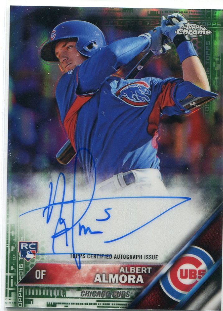 2016 Topps Chrome Rookie Autographs Green Refractors Albert Almora 87/99