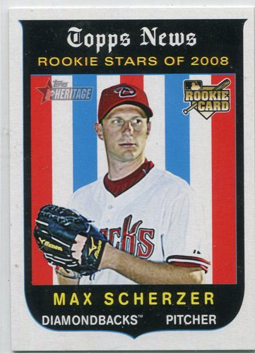 Photo of 2008 Topps Heritage #519 Max Scherzer Rookie Card -- Nationals post-season