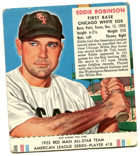 Photo of 1952 Red Man #AL18 Eddie Robinson -- With tab
