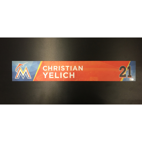 Photo of Christian Yelich Opening Night Game-Used Locker Tag