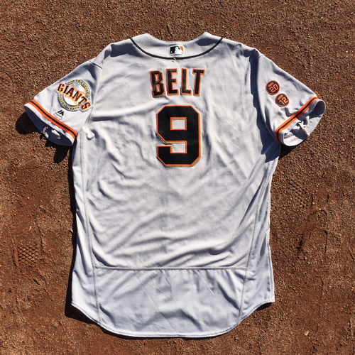 Photo of San Francisco Giants - 2016 Game-Used Road Jersey - Worn by #9 Brandon Belt on 9/23 (Size 48)