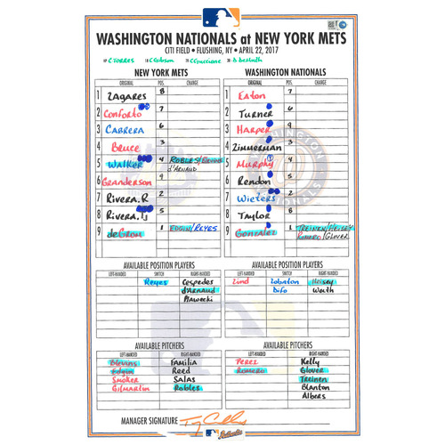Photo of Game Used Lineup Card - deGrom Start - Mets vs. Nationals - 4/22/17