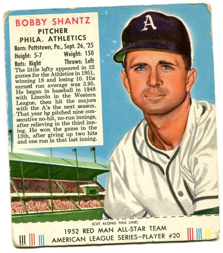 Photo of 1952 Red Man #AL20 Bobby Shantz -- With tab