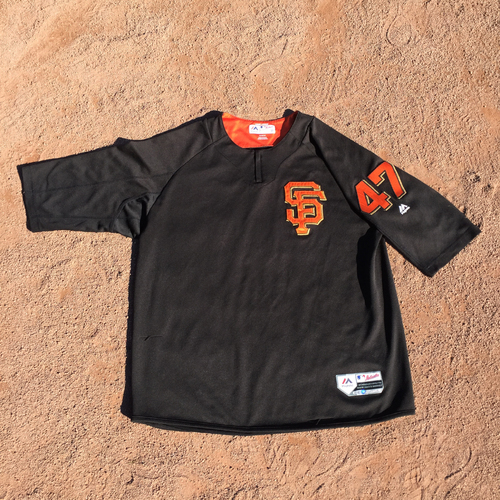 San Francisco Giants - 2017 Game-Used Batting Practice Jersey Worn by #47 Johnny Cueto (Size: XL)