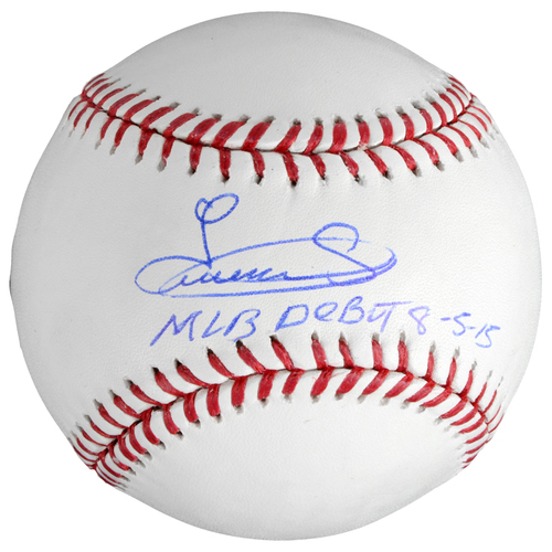 Photo of Luis Severino New York Yankees Autographed Baseball with MLB Debut Inscription