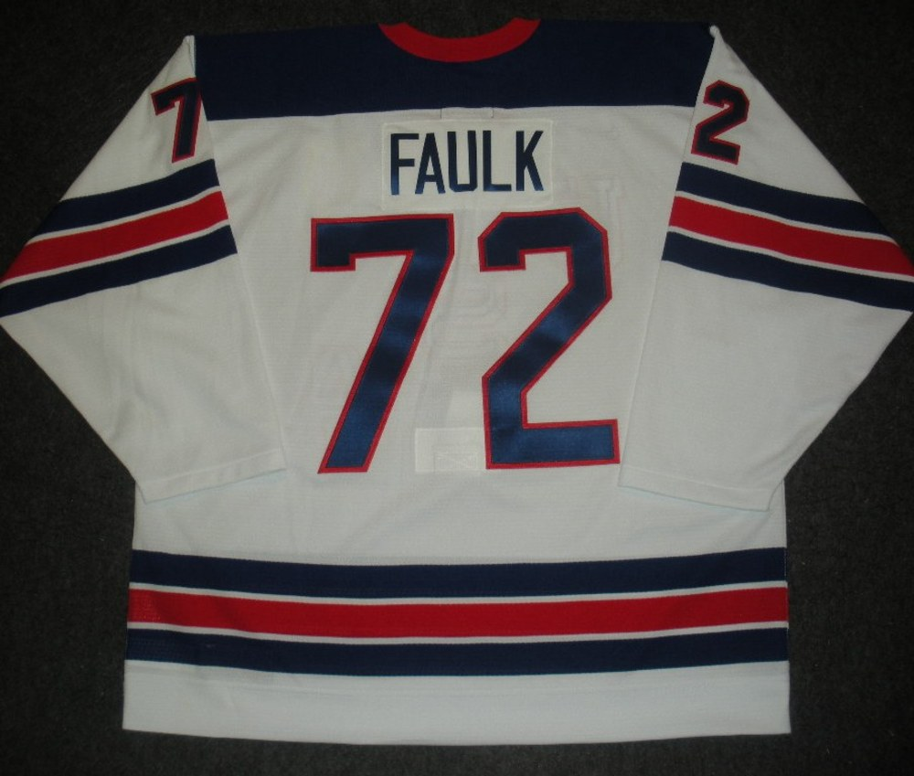 Justin Faulk - Sochi 2014 - Winter Olympic Games - Team USA Throwback Game-Issued Jersey - 2nd and 3rd Periods vs. Slovenia, 2/16/14