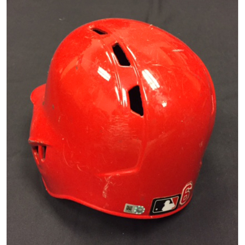 Photo of Game-Used Helmet - Billy Hamilton - 3 SB Off Yadier Molina Game & 57th SB of Season-Tying Single-Season Career High - 9/2/16 STL vs. CIN