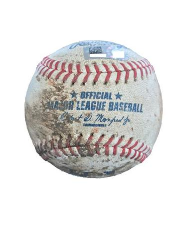 Photo of Game-Used Baseball from Pirates vs. Yankees on 4/21/17 - Sabathia to Bell, 3 Pitches Ending in a Foul Ball