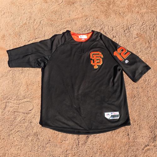 Photo of San Francisco Giants - 2017 Game-Used Batting Practice Jersey Worn by #12 Joe Panik (Size: XL)