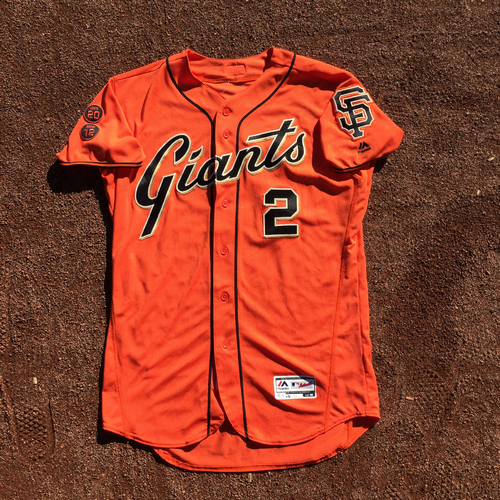 Photo of San Francisco Giants - 2016 Game-Used Home Alt Org Jersey - Worn by #2 Denard Span on 8/26 - 2-4, 1 RBI,  (Size 46)