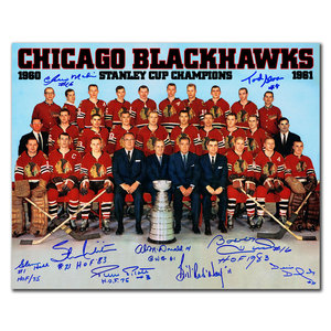 1961 Chicago Blackhawks Stanley Cup Team Autographed 16x20 Signed by 9