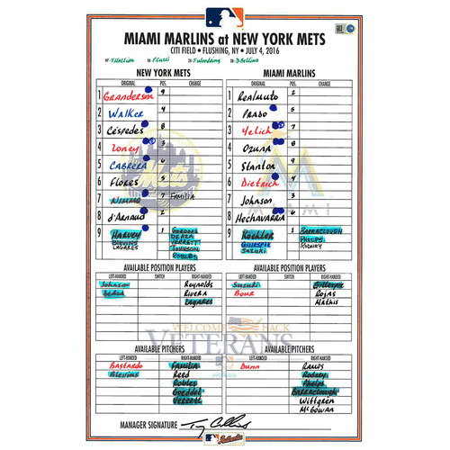 Photo of Game Used Lineup Card - Harvey Start; Mets Rally From 6 Runs Down to Win 8-6 - Mets vs. Marlins - 7/4/16