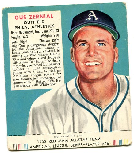 Photo of 1952 Red Man #AL26 Gus Zernial -- With tab