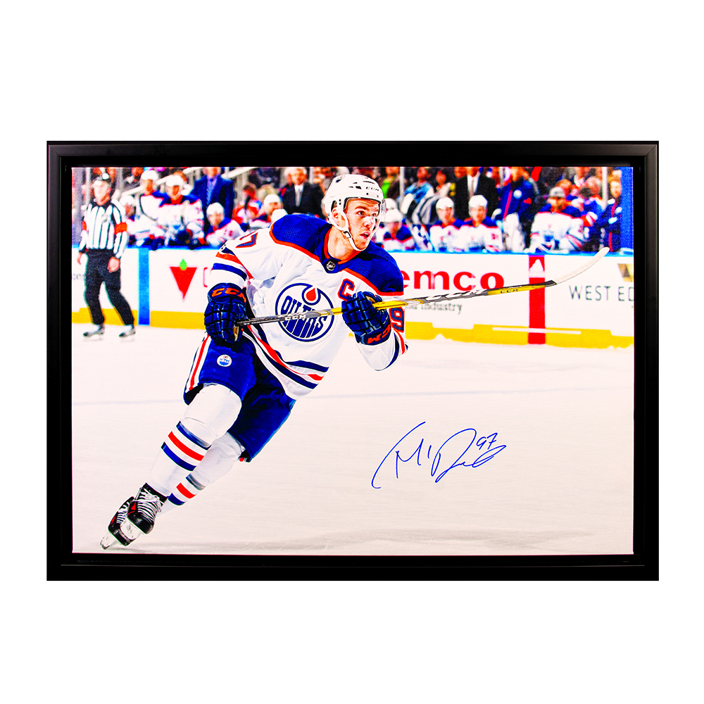 Connor McDavid #97 - Autographed & Framed Edmonton Oilers 20x29 Canvas Photo