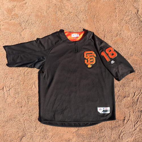 San Francisco Giants - 2017 Game-Used Batting Practice Jersey Worn by #18 Matt Cain Size: XL)