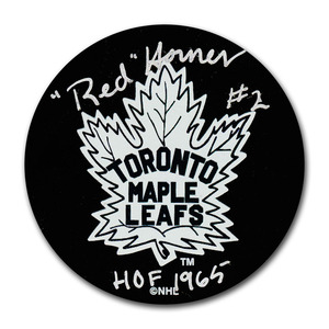 Red Horner (deceased) Autographed Toronto Maple Leafs Puck w/HOF 1965 Inscription
