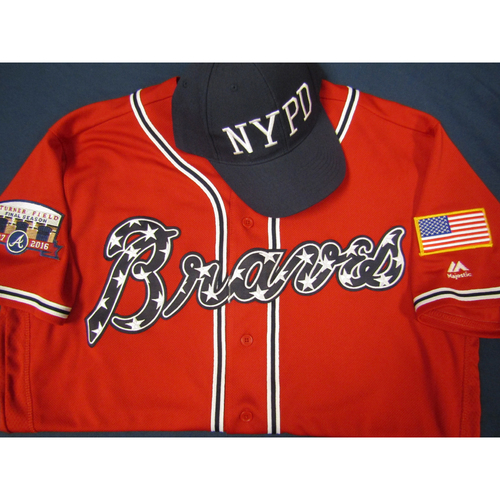 Photo of Braves 9/11 Remembrance Auction - Daniel Castro Game-Used Autographed Military Red Jersey and First Responder Hat